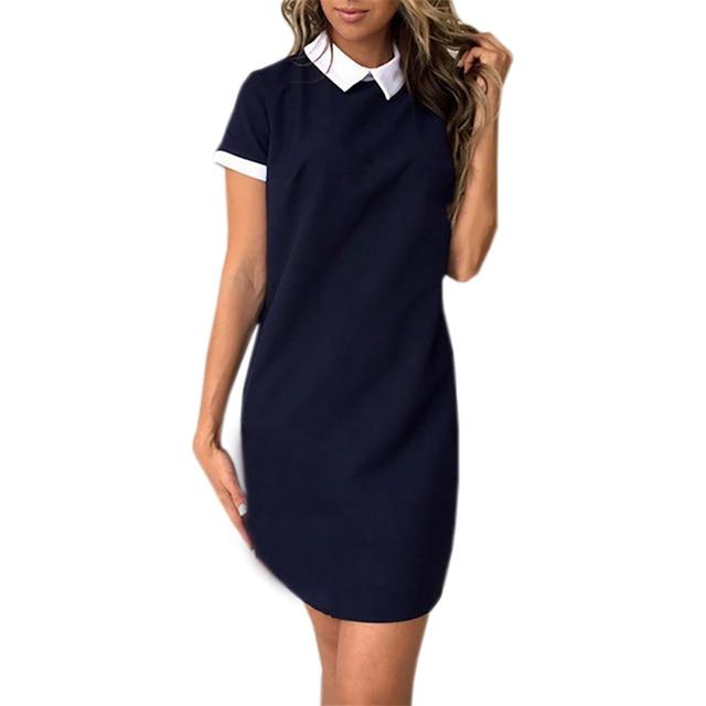 f0b60a7bb3f Women Summer Dress Turn-down Collar Short Sleeve Office Dresses Robe 2018  Casual Straight Mini Dress Mujer Pink GV634