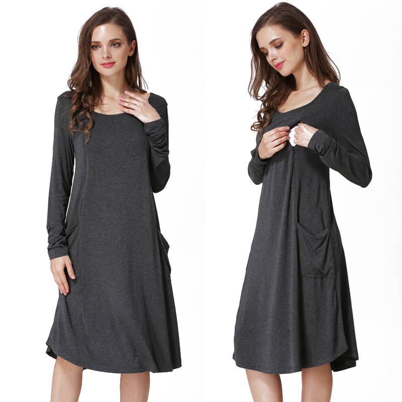 Stock New Spring Long Sleeve Maternity Clothing Knitted Stretch Pregnant Dress Pocket Breastfeeding Nursing Dress Plus SizeStock New Spring Long Sleeve Maternity Clothing Knitted Stretch Pregnant Dress Pocket Breastfeeding Nursing Dress Plus Size