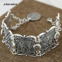 xiacaier Vintage Silver Plated Hollow Flower Cuff Bracelet Bangle Bracelets For Women Round Charm Bracelet Femme Jewelry(China)