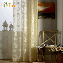 Yellow White Leaves Embroidered Voile Curtains For Living Room Balcony Window Sheer Egegant Bedroom Tulle Custom