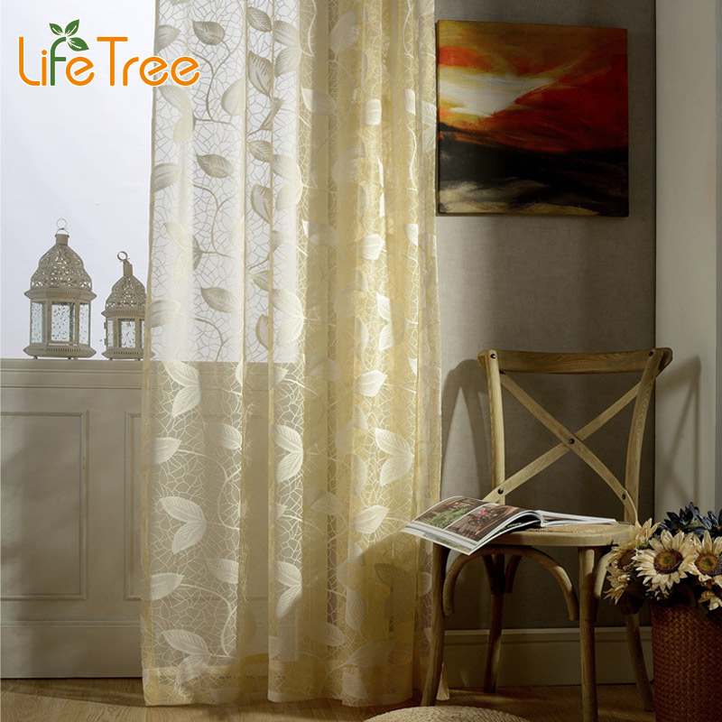 Yellow White Leaves Embroidered Voile font b Curtains b font For Living Room Balcony Window Sheer
