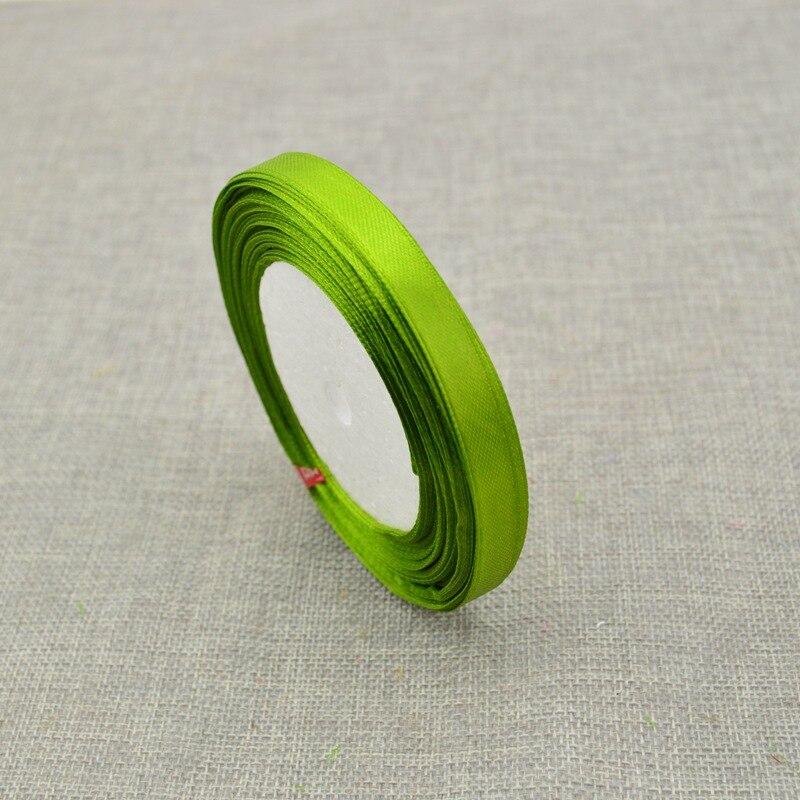 10 мм, 25 ярдов, шелковая атласная лента для свадебного автомобиля, ручная работа, Подарочная коробка для конфет, материалы для украшения, рождественские ленты - Цвет: ArmyGreen
