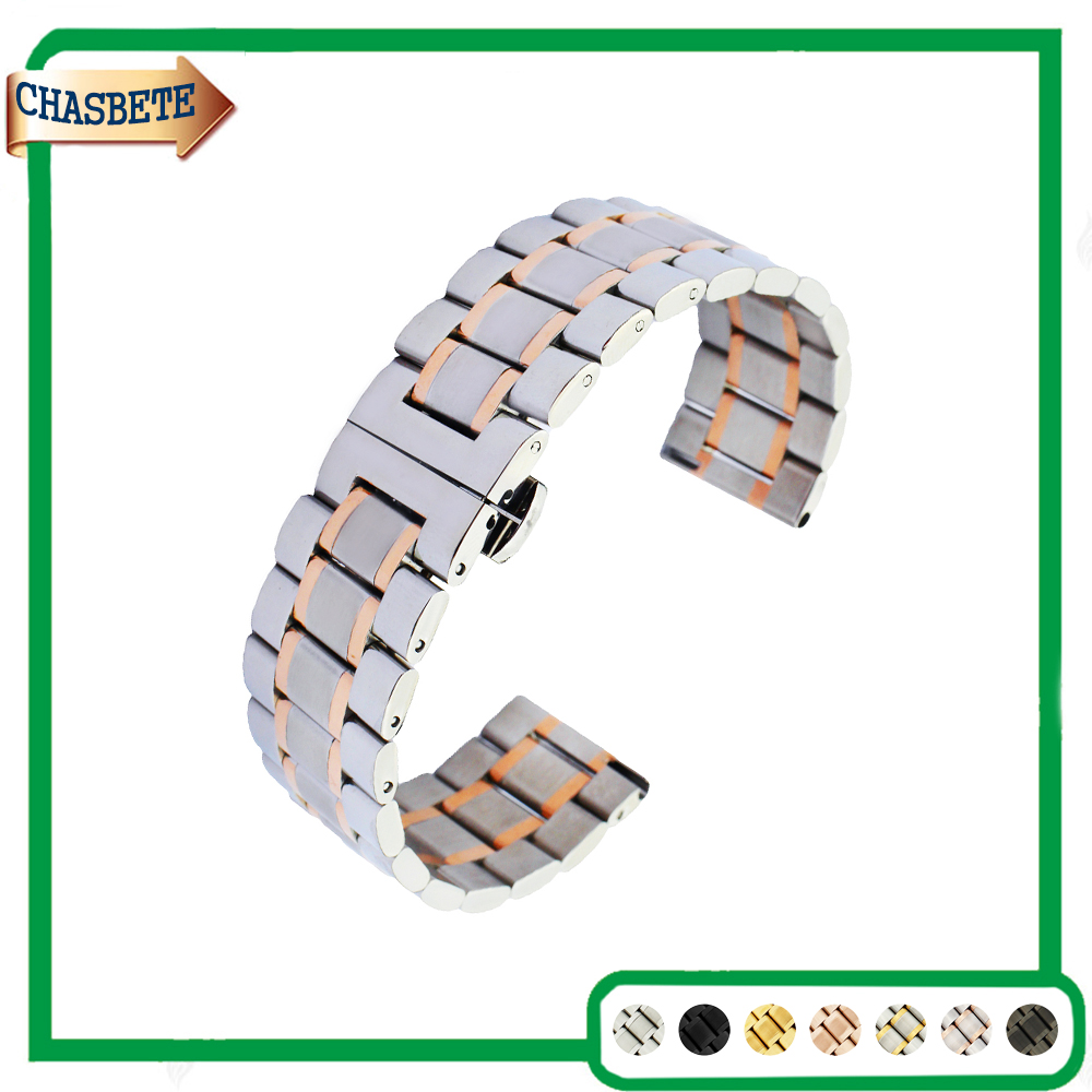 Stainless Steel Watch Band for Cartier 20mm 22mm Quick Release Metal Strap Belt Wrist Loop Bracelet Black Silver Gold + Pin цена