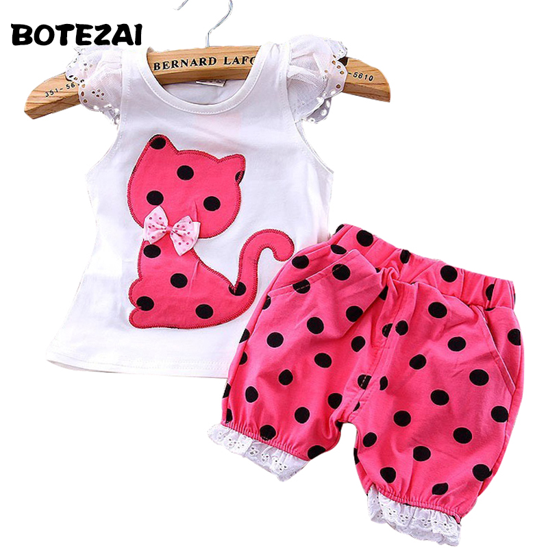 new summer 2016 children clothing set baby girls bow cat shirt + shorts suit 2pcs kids clothes toddler girl clothes 1-4yrs