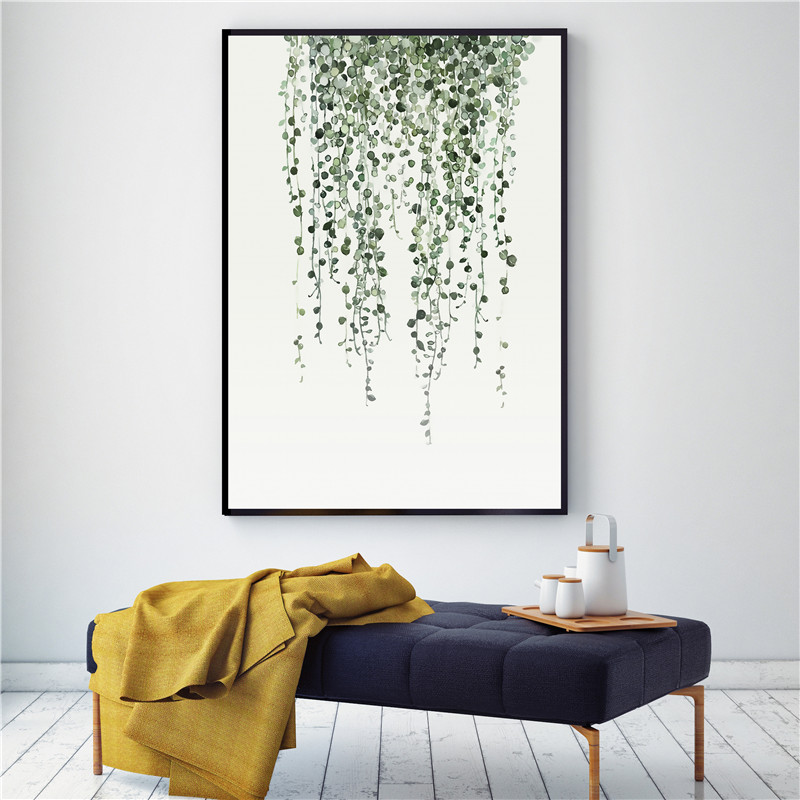 Home Decor Watercolor Plant Leaves Poster Print Landscape Wall Art Canvas Painting Picture For Living Room Cactus Decoration Repair Tool 034