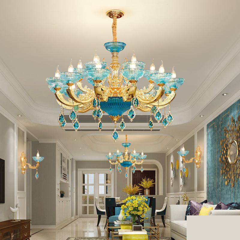 все цены на modern hall crystal chandelier Led Chandeliers For Dining Room luxury Chandelier Ceiling blue bedroom lamp creative French lamps