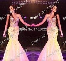 Abendkleider 2015 Qualitäts-kristall Lange Gelb Abendkleid Meerjungfrau Schatz Perlen Pageant Kleider für Frauen Abendkleid