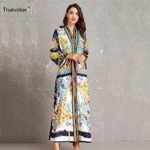 Truevoker Autumn Designer Dress Ladies  Long Sleeve Printed Maxi Robe Femme  Ete 6ca361b239b7