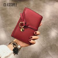 Women Wallet Red Female Coin Purse Genuine Leather 2018 Fashion Bag Wallet Women Short Wallets Coin Pocket Card Holders Females