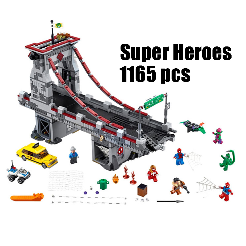 Lepin 07038 super heroes Spiderman Web Warrior Bridge Battle toys for children building blocks Compatible legoe marvel 76057 back to the future super heroes skeleton boy doc brown and marty mcfly with skateboard building blocks toys for children kf198