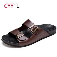 Cyytl Для мужчин мужские летние шлепанцы; уличные, из натуральной кожи, мужские мягкие шлепанцы для дома на резиновой подошве; Zapatos de Hombre; Легкие потертости