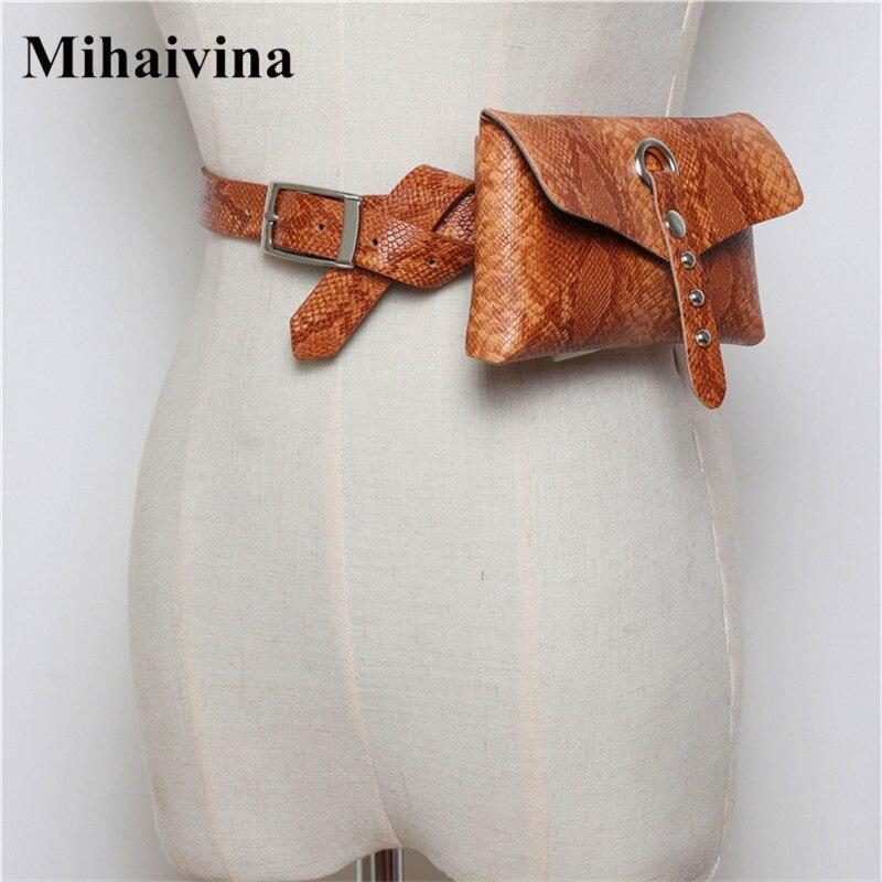 Mihaivina Serpentine Women Fanny Pack Leather Vintage Waist Belt Bag Luxury Female Waist Packs Adjustable Women Belts Phone Bags