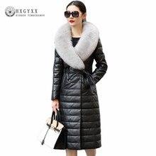 2018 Winter Women Genuine Leather Jacket Double Breasted Long Slim Fox Fur Parka Plus Size Warm Duck Down Sheepskin Coats Okb239