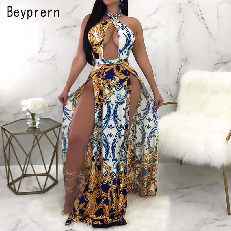 3c092fec43c Beyprern Vintage Printed Hollow-Out Gold Studded Detail Floor Length Party  Dress Women Sexy Double