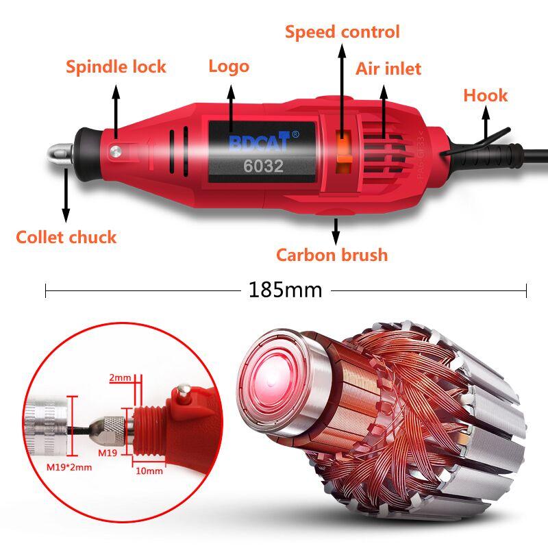 BDCAT 180 w Gravur Elektrische Dreh Werkzeug Variabler Geschwindigkeit Mini Bohrer Schleifen Maschine mit Power Werkzeuge Dremel Werkzeug Zubehör