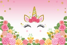 Laeacco Unicorn Birthday Party Flowers Gold Star Poster Photography Backgrounds Photographic Backdrops Photocall Photo Studio