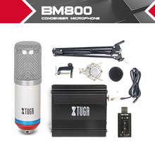 Kit condensateur microphone Studio enregistrement filaire pour ordinateur BM800 + support de bras support anti-choc + alimentation 48V phantom alimentation carte son(China)