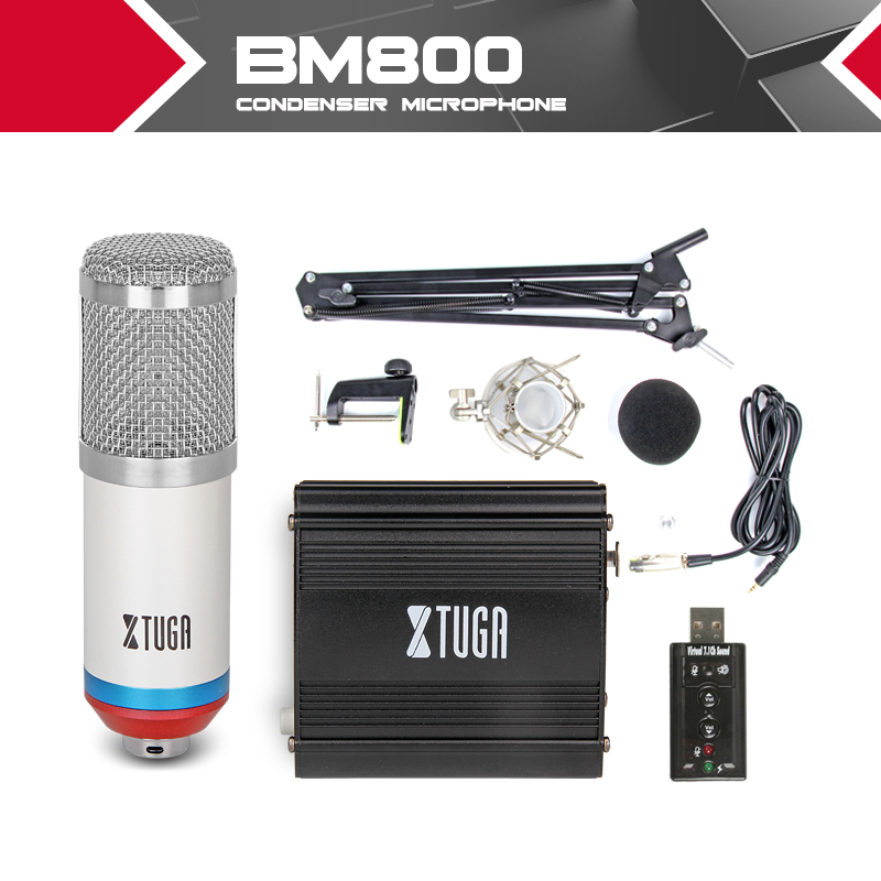 Kit Condenser Microphone Studio Wired Recording For Computer BM800 + Arm Stand Shock Mount + 48V Power Phantom Supply Sound Card