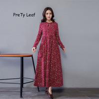 2018 spring and summer new national wind loose long cotton and linen dress