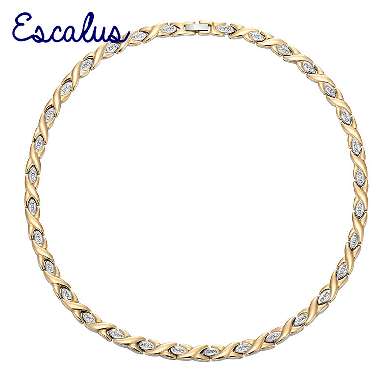 все цены на Escalus 2018 Classic Health Bio Magnetic Necklace For Women 96pcs Crystals Stainless Steel Gold Color Neckwear Charm New Jewelry онлайн