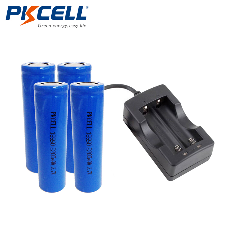 4Pcs 2200mah 3.7V 18650 Battery 3.7Volt ICR18650 Rechargeable Li-ion Battery+1PCS 18650 2Slot Battery Charge sa605n dip 20