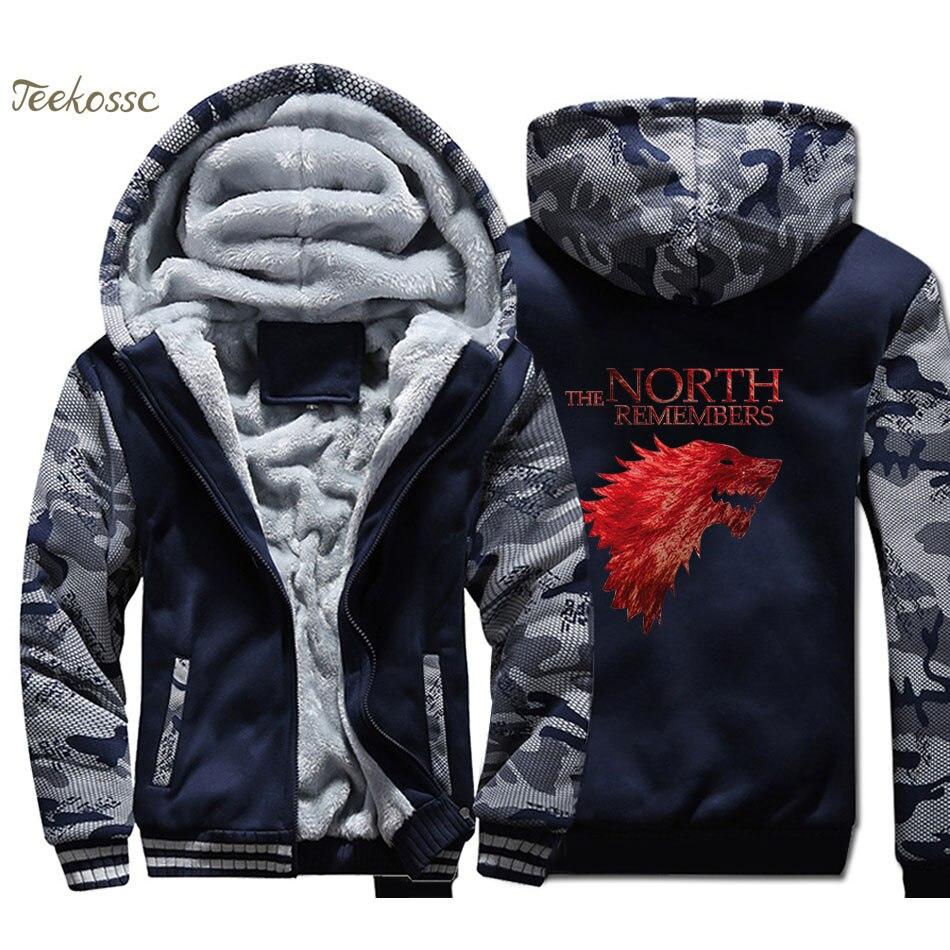 Game Of Thrones House Stark The North Remembers Hoodie Men Hooded Sweatshirt Coat 2018 Winter Warm Fleece Thick Zipper Jacket