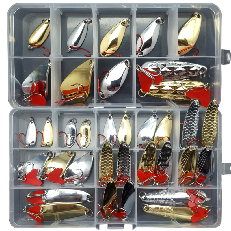 2g/4g/6g/8g/12g Fishing Lure Set Mixed Spoon Lure Set Spinnerbait Pike Fishing Lures Sea Fishing Metal Lure Salt Water B223