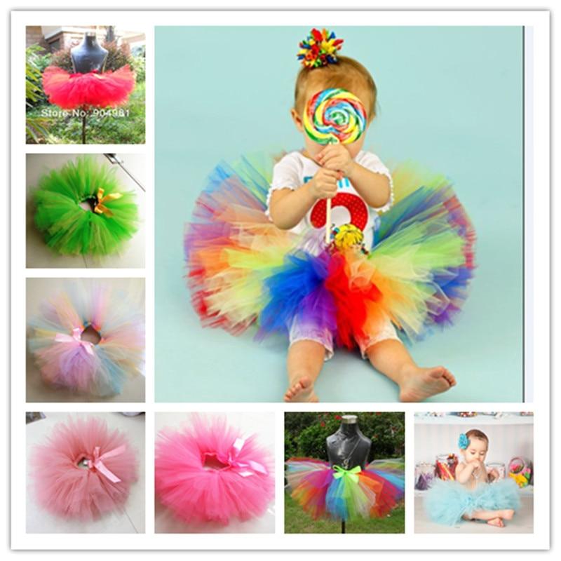 Girls tutu skirt Rainbow color baby petti tutu fluffy pink tutu skirt children dance party skirt birthday tutu girls single breasted raw hem skirt
