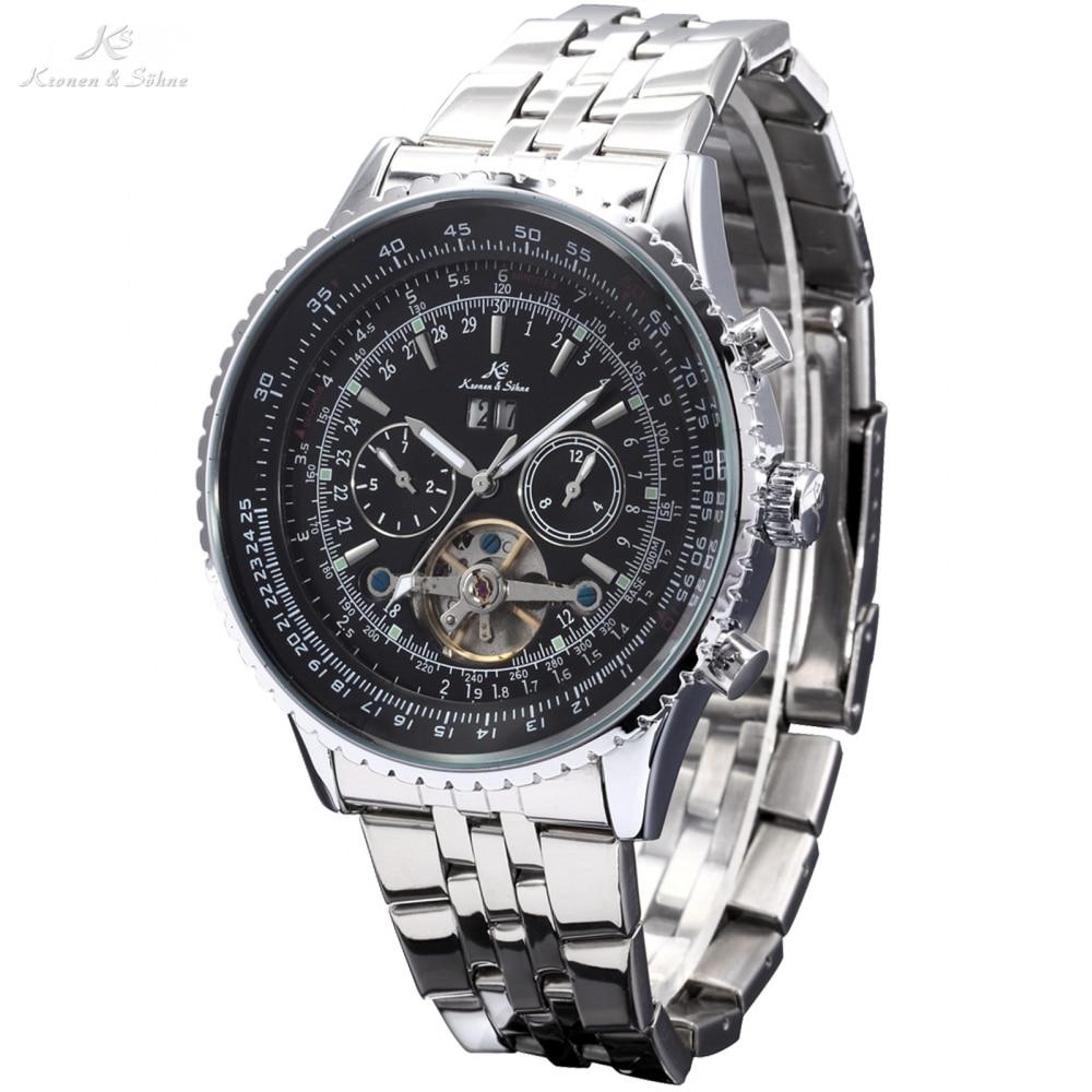 Kronen&Sohne Black Dial 6 Hands Date Day Luxury Tourbillion Analog Auto Mechanical Sport Watch 1