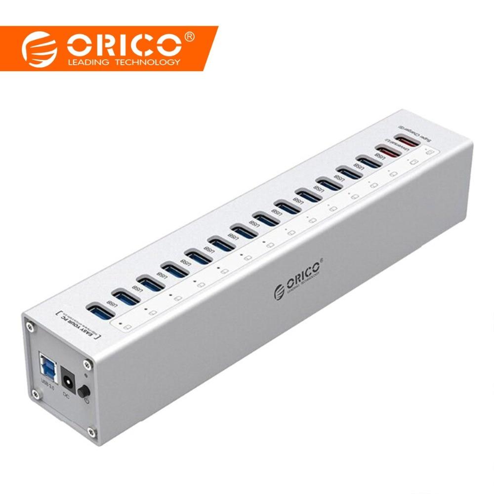 ORICO Aluminio 13 puertos Multi USB3.0 HUB Splitter con 5V2.4A / 5V1A Puertos de cargador con 3.3 Ft USB3.0 Cable-Plata PARA Laptop