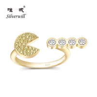 Silverwill 2018 authentic sterling silver gold filled ring pac man design adjustable rings for women lover gifts fashion jewelry