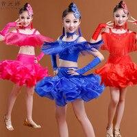 Stage Performance Girls Costumes Latin Dance Clothing Sequin Dress Kids Latin Salsa Dresses Samba Dance Costumes
