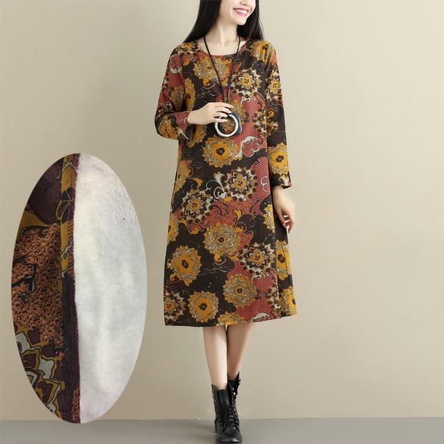2021 Fashion Thicken Fleece Warn Winter Dress Print Floral Cotton Linen Vintage Spring Dress Women Casual Midi Dress Plus Size 5