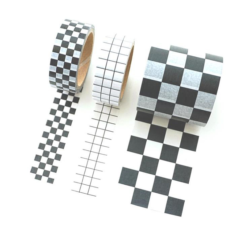 1 Pcs Kawaii Black White Grids Paper Washi Tape Japanese DIY Planner Masking Tapes Label Sticker Decorative Stationery