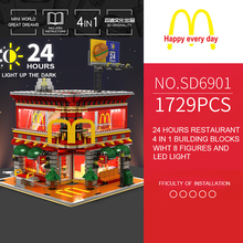 цена Sembo Street View 4in1 McDonaldsing LeSet Technic City Building Blocks Bricks Educational Toys Model Gifts With Led Light