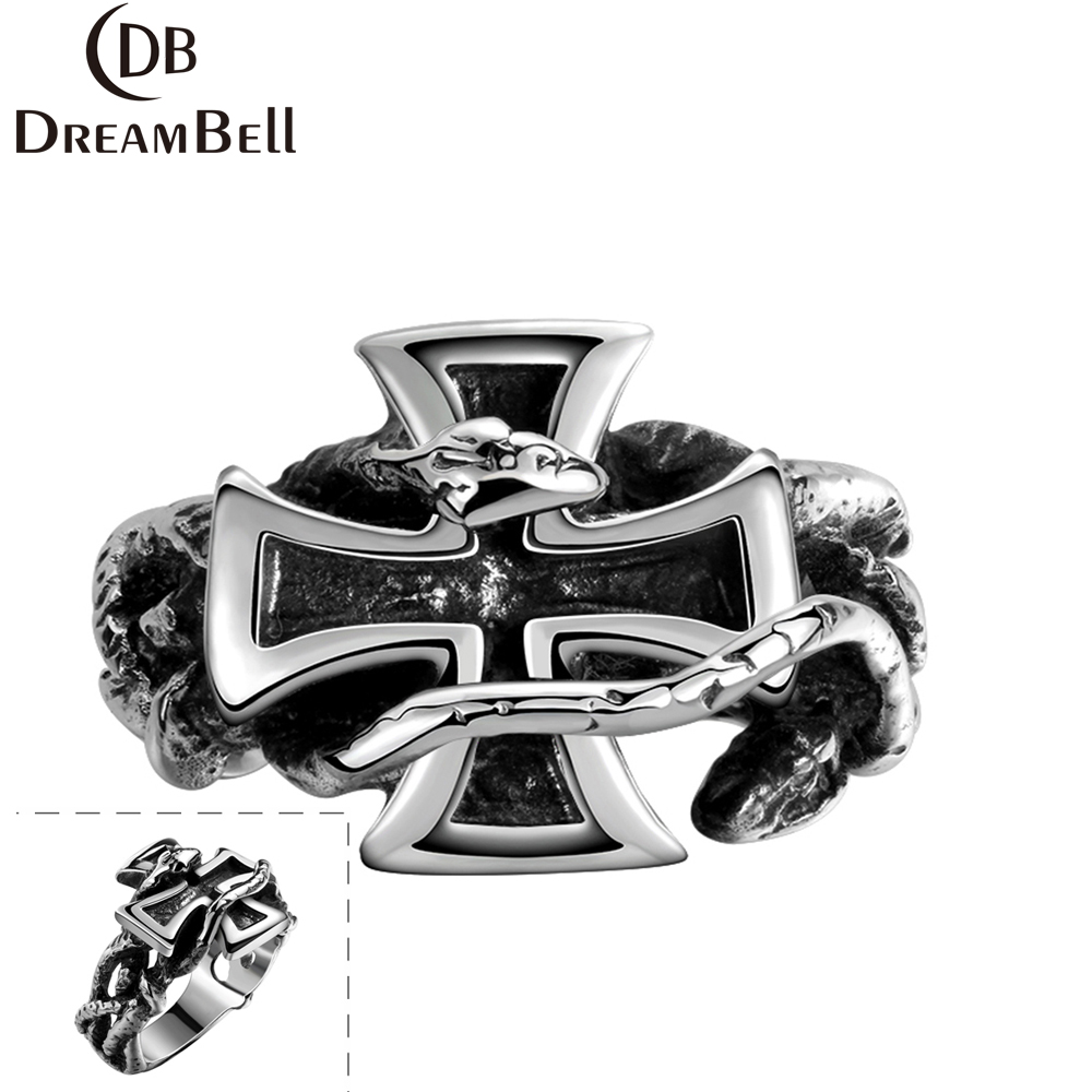 DreamBell Men Stainless Steel Creative Fashionable Cross Ring Exaggeration Personality Retro Concise Finger Rings Gift ZK15