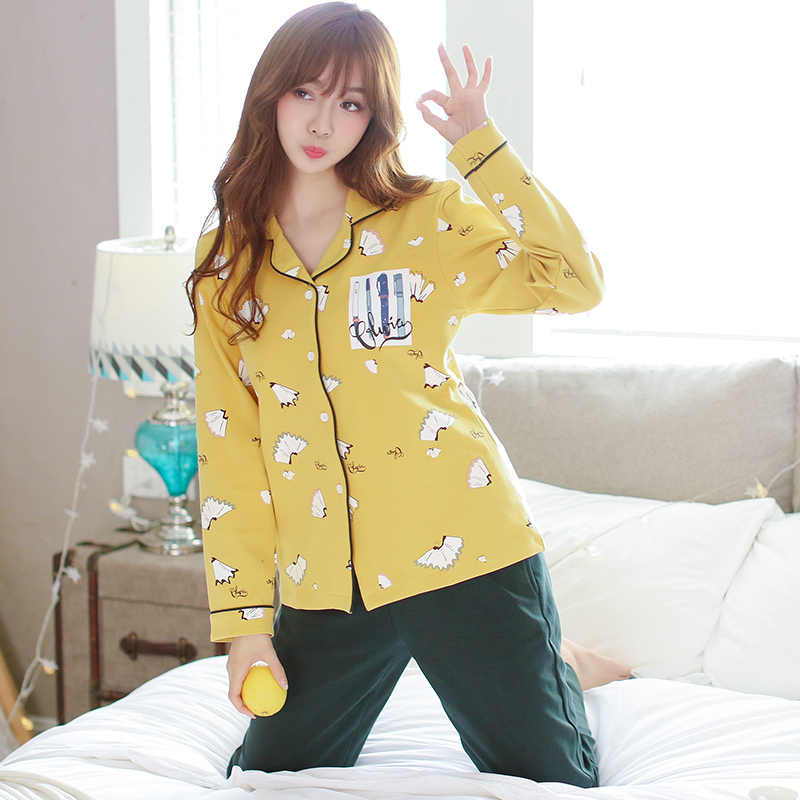354b53869a Home Clothes Women Pyjamas Two Piece Autumn Winter Pijama Large Size Pajama  Set Female Sleepwear Kawaii