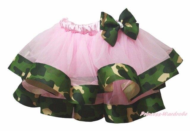 Baby Pink 4 Layer Stars Camouflage Ribbon Girl Petal Skirt Nb-8y