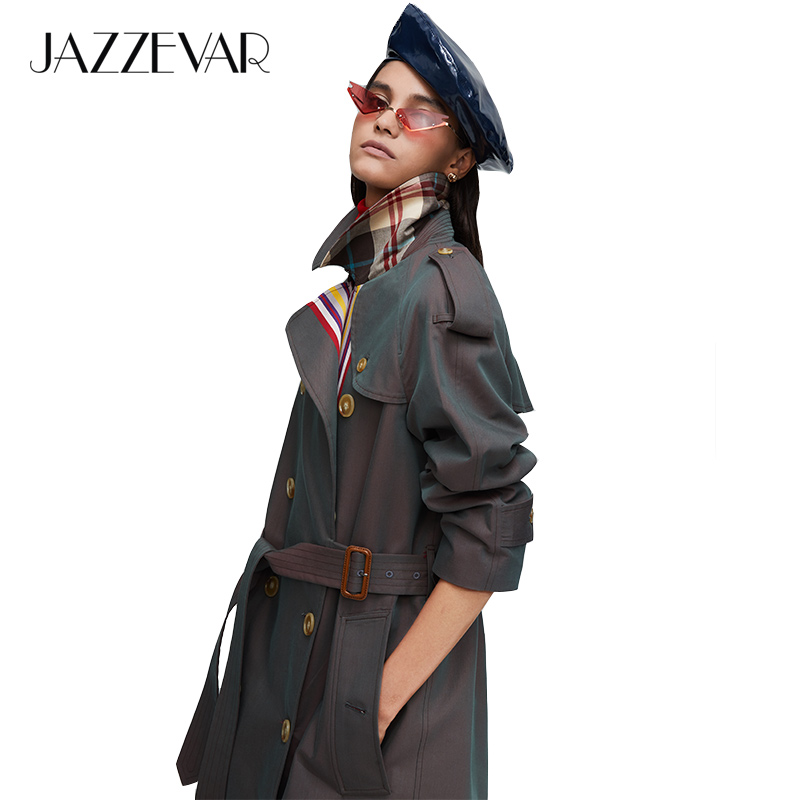 JAZZEVAR 2019 New arrival autumn khaki   trench   coat women casual fashion high quality cotton with belt long coat for women 9004