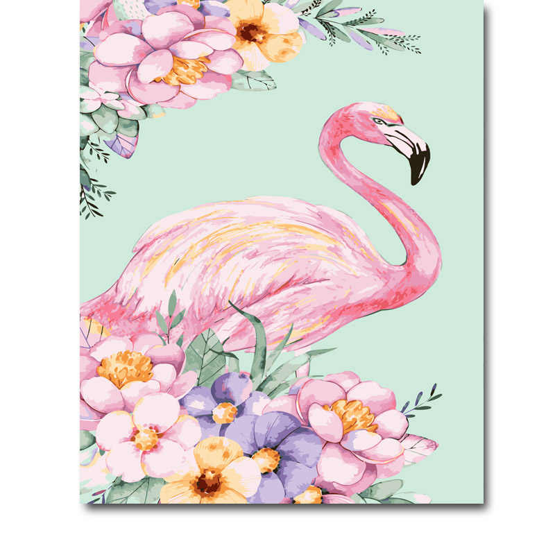 Framed Oil Paint DIY Painting By Numbers flamingo animal Coloring By Numbers Colorful Animals Home Decoration 40*50cm