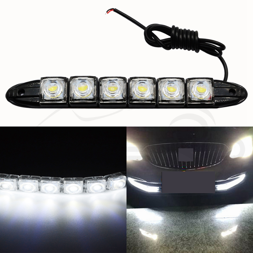 Купить с кэшбэком 1Pcs LED White Auto Auto Decorative Flexible LED Strip High Power 12V Auto LED Daytime Running Light LED Strip Light Black Shell