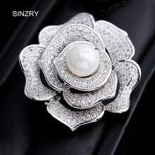 SINZRY Lujo nupcial accesorio de la joyería de circón cúbico de Color blanco sólido rose broche de la flor pin hebillas de las mujeres bufandas