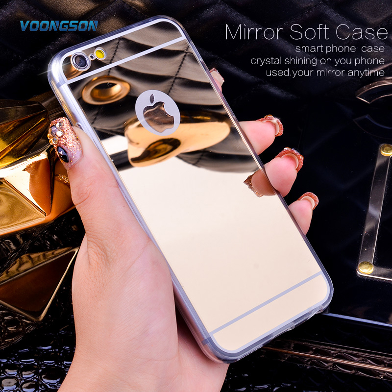 VOONGSON Rose Gold Luxury Bling Mirror Case For Iphone 6 6S Plus 7 5 5s SE Clear TPU Edge Ultra Slim Flexible Soft Cover Cases