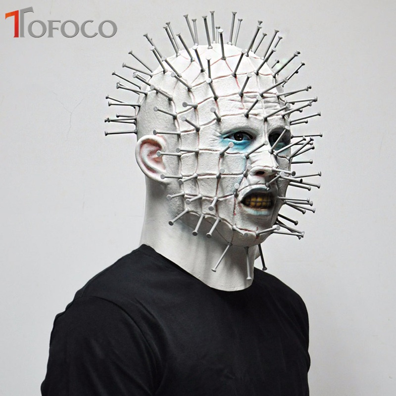 TOFOCO New Tricky Toys Men Halloween Horror Scary Latex Zombie Head Hellraiser Mask Pinhead Joke Prank Toy Novelty Shocker