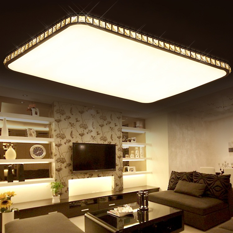 The modern super thin rectangular crystal LED ceiling living room bedroom lamp Restaurant noosion modern led ceiling lamp for bedroom room black and white color with crystal plafon techo iluminacion lustre de plafond