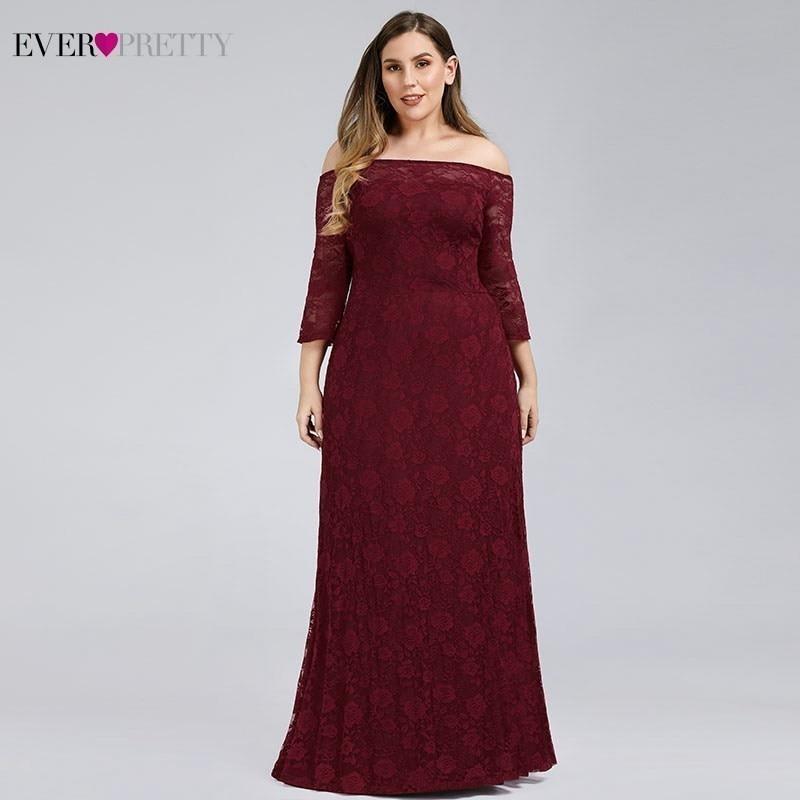 Ever Pretty Plus Size Burgundy Mother Of The Bride Dresses A-Line Off The Shoulder Elegant Dinner Gowns Vestido De Madrinha 2019