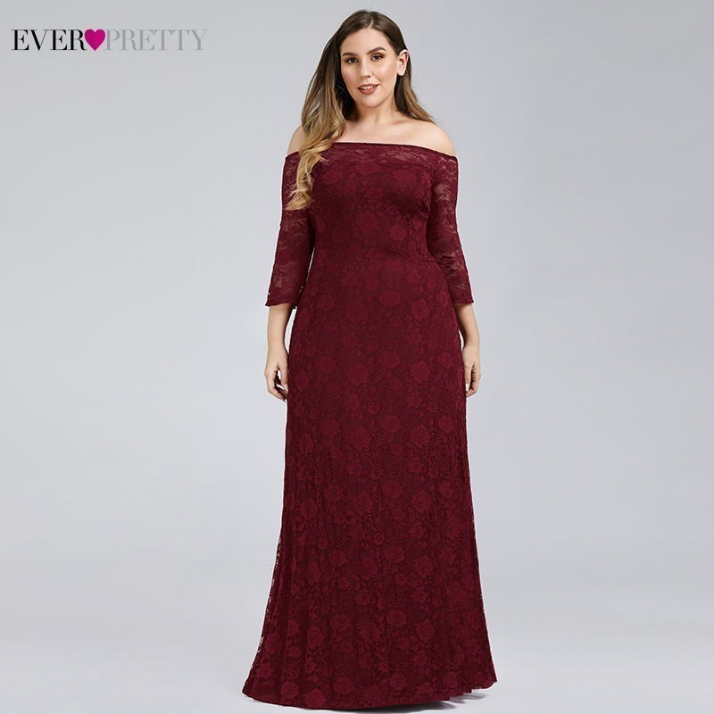 Ever Pretty Plus Size Burgundy Mother Of The Bride Dresses A-Line Off The Shoulder Elegant Dinner Gowns Vestido De Madrinha 2020