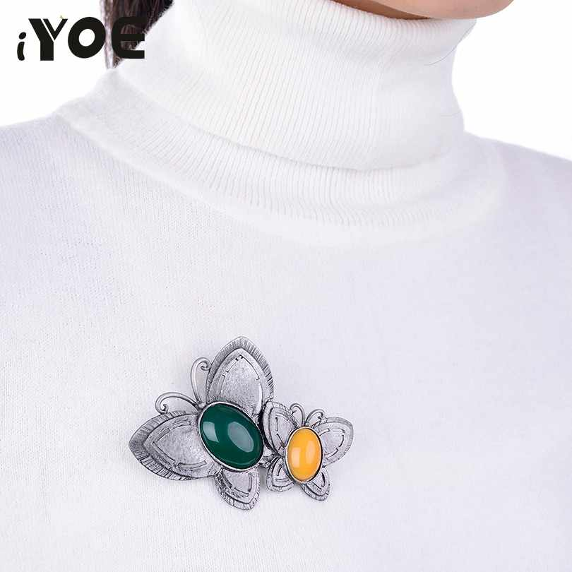 IYOE Double ผีเสื้อเข็มกลัดผู้หญิงเครื่องประดับ Vintage หินธรรมชาติสัตว์เข็มกลัด Pin อุปกรณ์เสริมสำหรับผ้าพันคอ