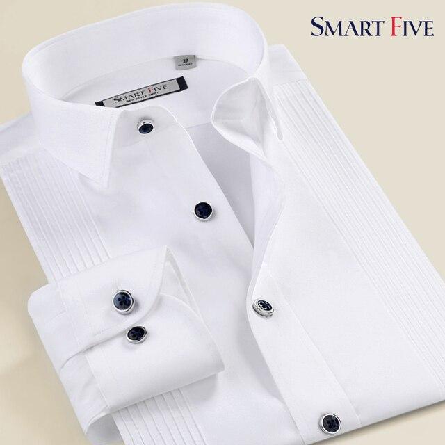 SMART FIVE2015 белый мерсеризированный хлопка с длинными рукавами рубашки мужчина вечернее платье пункт джентльмен формальный рубашка легкий уход