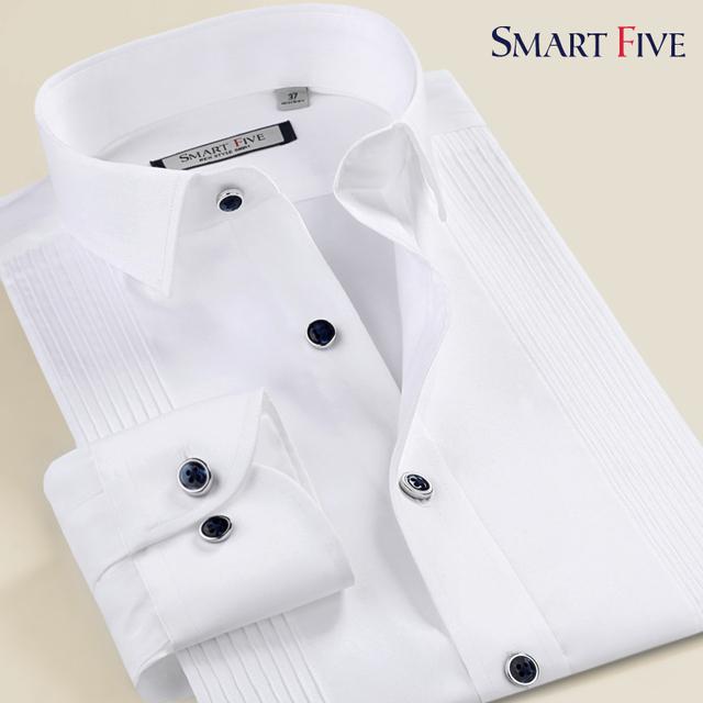 Smart five2015 blanco mercerizado de manga larga camisa masculina vestido formal párrafo caballero camisa formal de fácil cuidado